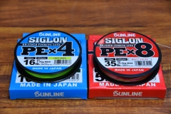 Sunline Siglon PE 4 & PE 8, made from EX-PE fibres, available in 150 and 300m spools in sizes from PE 0.2-PE10, RRP $30 (PE4) $40 (PE8) 150m spool